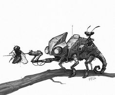 Tonight's little robot. #marchofrobots #chameleon #animals #robot #art #instaart #illustration #instagood #draw #conceptart #characterdesign #ant #creaturedesign