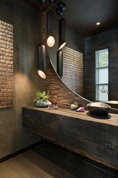 salle de bain marron foncé grand miroir dans la salle de bain zen                                                                                                                                                                                 Plus