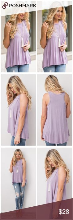 """LILAC BOUTIQUE QUALITY BAMBOO TRAPEZE TOP LILAC BOUTIQUE QUALITY BAMBOO TRAPEZE TOP * Sleeveless * High Crew Neckline * Flowier Fit * Fabric Allows for Stretch * Soft To The Touch * Hi-Lo Hemline * Unlined 96% Bamboo Viscose, 4% Spandex  Model is 5'10 and wearing a small.   Small   Bust 34""""   Length 28.5""""  Medium   Bust 36""""   Length 28.5""""  Large   Bust 38""""   Length 29"""" Tops Blouses"""