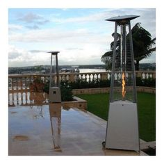AZ Patio Heaters Commercial Glass Tube Propane Patio Heater Finish: Stainless Steel
