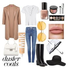 """""""Duster Coat"""" by pufferfishcandy on Polyvore featuring Boohoo, Levi's, Sergio Rossi, Miu Miu, Fulton and Bobbi Brown Cosmetics"""