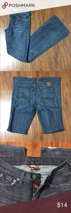 """Lucky Brand Jeans Flare/boot cut jeans, back left hem has some fraying-see photo. Inseam is 31"""" waist is 24"""" rise is 7"""" Lucky Brand Jeans Boot Cut"""