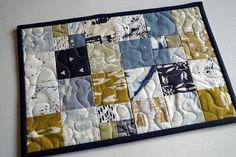 Bohemian Patchwork Mini Quilt Place Mat or Mug Rug in Mustard