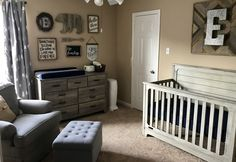 E's Navy Blue and Gray Rustic Nursery |