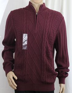IZOD Maron Long Sleeve Quarter Zipper Sweater Big and Tall LT #IZOD #14Zipper
