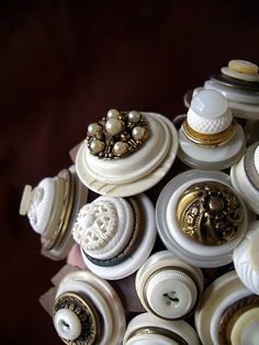 vintage button bouquet detail by lilfishstudios, via Flickr