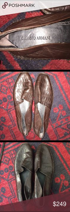 Giorgio Armani men's slip ons Beautiful Giorgio Armani chocolate brown leather moccasins size 42 men's Giorgio Armani Shoes Loafers & Slip-Ons