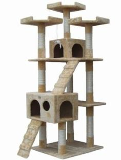 "Cat Tree Condo Furniture Go Pet Club 72"" Scratching Post Bed Deluxe Tower Beige"