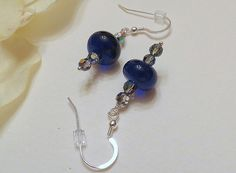 Jewelry Dangle Earrings Colbalt Blue Lampwork by Smokeylady54