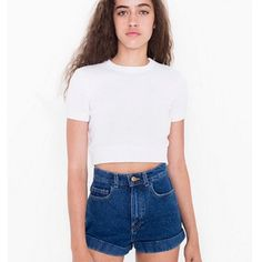 American Apparel High Waist Dark Wash Denim Shorts American Apparel Cuffed Denim Shorts in great condition. Perfect paired with crop tops! Great condition. Size 28 American Apparel Shorts Jean Shorts