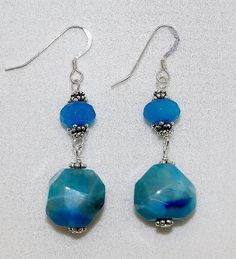 Faceted Freeform Blue Crack Agate And Blue Topaz Sterling Silver Handmade Drop Earrings