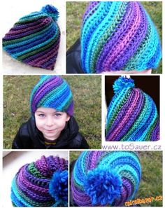 Swirled hat tutorial, in Czech. Crochet Beanie Hat, Crochet Cap, Single Crochet Stitch, Crochet Baby Hats, Crochet Clothes, Knitted Hats, Loom Knitting, Knitting Patterns, Crochet Patterns