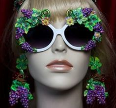 1972 Hand Painted Enamel Grapes Fancy Sunglasses Shades