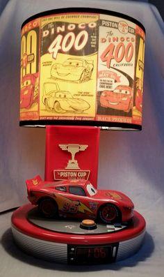 """Disney Cars Piston Cup Talking Digital Alarm Clock Lamp 16"""" Lightning McQueen"""