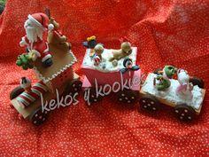 Kekos & Kookies: Muñecos Navidad Christmas Train, Christmas Deco, Christmas Crafts, Xmas, Christmas Ornaments, Gingerbread Train, Biscuit, Polymer Clay Christmas, Cold Porcelain