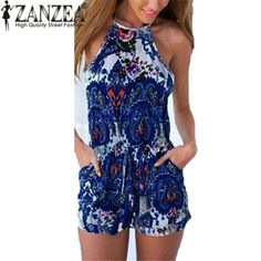 Fashion Rompers Summer Jumpsuit Sexy Halter Neck Sleeveless Floral Pri – All In One Place With Us