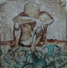Cuadro pintado a mano.Hombre triste.Técnica mixta betún de judea y pinturas de cristal. Por Mar Laguna Checa. Diseñadora de Interiores.