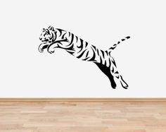 Leaping Tiger la faune vinyle wall art sticker - 4 tailles & 16 couleurs - wl2