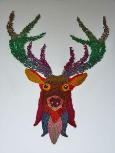 Freeform crocheted Deer by Ann*Benoot, inspired by Zentangle Drawing of power animals. Textile art 'painting' 40x50 cm