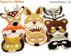 This set of 8 woodland animals masks is designed for everyday fun, great for dress up and pretend play, ideal gift, perfect for themed birthday parties, party favor and photo props. The set includes the following masks: WOLF, BEAR, OWL, FOX, RABBIT, RACCOON, HEDGEHOG, DEER. Each mask has two-layers, it is made of high quality soft eco felt. It is held firmly in place with elastic. Recommended for children 2 years old and up. All Sales are final! Insurance is available upon request at the ...
