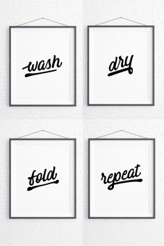 Set of 4 Digital Laundry Room Signs, Wash Dry Fold Repeat, Rustic Wall Decor Printable Artwork Rustic Walls, Rustic Wall Decor, Laundry Room Signs, Word Art, Printable Wall Art, Fine Art Paper, Repeat, Gift Guide, Poster Prints