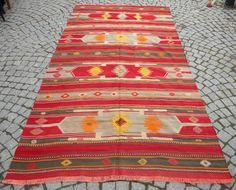 "Anatolia Turkish Rug 65"" x 128"" Vintage Hand Woven Wool Kilim Kelim From Sivas ®"