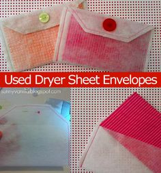 how to make envelops from old dryer sheets
