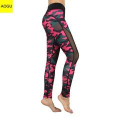 40e1e235dda6e KARYZON Yoga Leggings Slimming Running Pants 2017 Women Camouflage Mesh  Fitness Moto Leggings Tights Mallas Mujer Drop Shipping