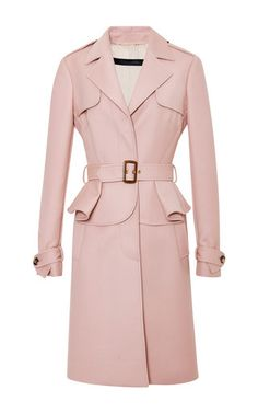Blush Single Breasted Trench Coat by Elie Saab for Preorder on Moda Operandi Peplum Coat, Pink Trench Coat, Belted Coat, Coat Dress, Trench Coats, Blazers, Elie Saab, Coats For Women, Jackets For Women