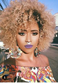 for more curly hair inspiration ➿ ❤️ Pelo Natural, Natural Curls, Natural Hair Care, Natural Hair Styles, Natural Beauty, Blonde Natural Hair, My Hairstyle, Afro Hairstyles, Medium Hair Styles