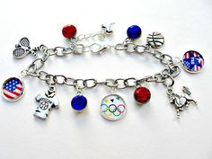 Olympics Charm Bracelet Rio Olympics by SportsJewelryStudio on Etsy.  $24.  etsy.com/shop/sportsjewelrystudio.  #2016Olympics; RioOlympics; #Olympicsjewelry; #Olympicsbracelet