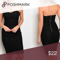 🆕 Black Lace Dress New with tag. Stunning floral lace. Exposed back zipper. 100% Rayon. #20-247-42 ZLG Style Dresses Strapless