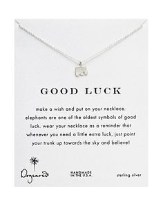 """Dogeared Sterling Silver Good Luck Elephant Necklace, 18"""" 