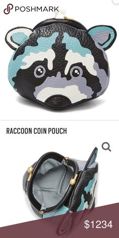 """NWT Adorable Fossil Raccoon Leather coin purse  NWT Adorable Raccoon coin purse with top kiss lock.  Interior Material: Twill - 100% Cotton EXTERIOR Exterior Material: Leather Closure: Kisslock Silhouette: Coin Pouch Hardware: Old English Brass Polished SIZE Measurements: 3.75""""L x 3""""W x 3.5""""H Fossil Bags"""