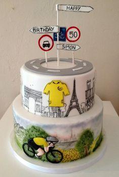 Tour De France cake. Hand painted cake.