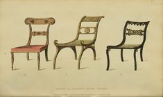 EKDuncan - My Fanciful Muse: Regency Furniture 1809 Ackermann's Repository Series 1 Vintage Furniture Design, Furniture Styles, Painted Furniture, Greece Design, Regency Furniture, Georgian Era, Interior Rendering, Textiles, Side Chairs