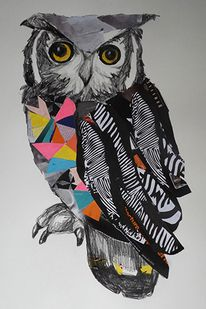 'Seymour' by Emma Gale. Australian modern artist Emma Gale mixes textures of crayons, pencils, feathers and fabric trim to create vibrant, rich, colourful and mesmerising collages. Jr Art, Collaborative Art, Art For Art Sake, Art Plastique, Collage Art, Creative Art, Art Lessons, Cool Art, Art Projects