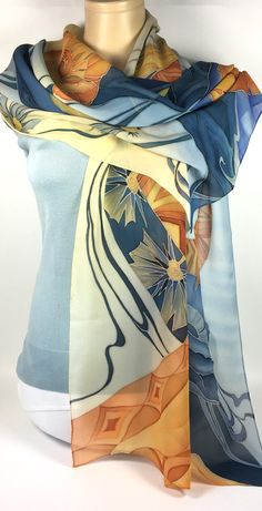 Your place to buy and sell all things handmade Chiffon Scarf, Silk Chiffon, Silk Art, Large Scarf, Scarf Design, How To Wear Scarves, Hand Embroidery Designs, Silk Painting, Silk Scarves