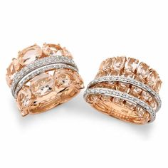 Oooo pretty pink and white gold with diamonds and champagne topaz in these unusual Brumani rings