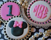 Sweet Goosie Girl's Minnie Mouse, Circle Monogram & Sparkly Personalized Sugar Cookies