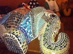 Mosaic elephant.