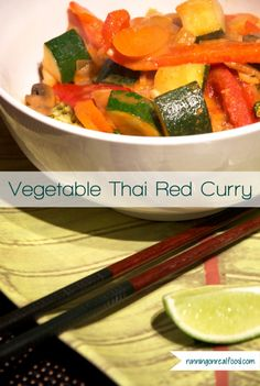 Vegetable Thai Red Curry - Ready in less than 30 minutes! Healthy, delicious, vegan.