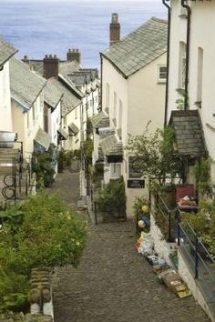 Main street in the village of Clovelly on the north coast of Devon, England -