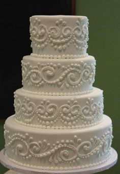 Classic piped wedding cake