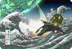 Leiji Matsumoto's 'Yamato', 'Captain Harlock', and Turn into 'Ukiyoe' Traditional Japanese Art Anime Events, Space Pirate Captain Harlock, Galaxy Express, Traditional Japanese Art, Manga Artist, Nose Art, Illustration Art, Prints, Ship Tattoos
