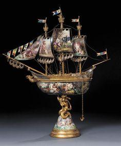 Full Sail, Tabletop, Sailing, Enamel, Metal, Jewels, Candle, Vitreous Enamel, Table