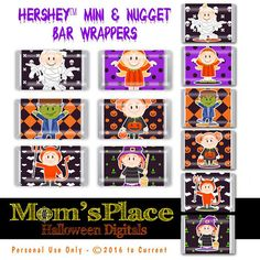 """Items similar to Halloween Hershey Mini's and Nugget Candy Bar Wrappers """"Kids Costumes Tags, printable party favor, digital file on Etsy Chocolate Bar Wrappers, Candy Bar Wrappers, Hershey Candy Bars, Paper Candy, Cute Halloween, Halloween Ideas, Candy Making, Collage Sheet, Party Printables"""