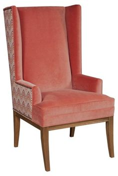 """$1195.00 Kevin Velvet Wing Chair, Tangerine - Kristin Drohan Collection - Brands   One Kings Lane         24.5""""W x 30""""D x 46.5""""H"""