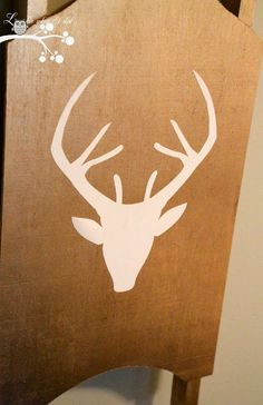 Gold Reindeer Sled...Only 3 Things Needed to Make This..Wood Craft Sled from Michaels, Spray Paint and Vinyl Decal