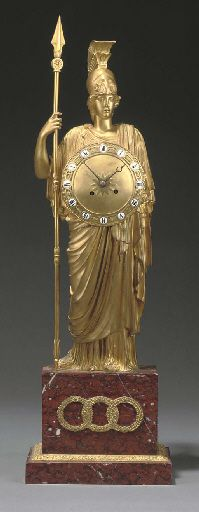 A NAPOLEON III GILT BRONZE AND MARBLE MANTEL CLOCK  CIRCA 1870  The clock modelled as the figure of Minerva with shield as dial, on a rouge griotte marble plinth, the backplate numbered '717'.